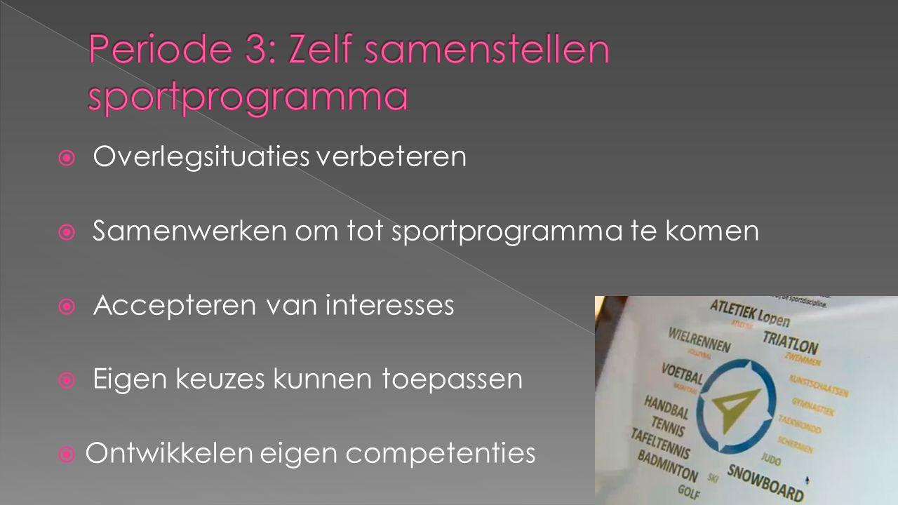  Overlegsituaties verbeteren  Samenwerken om tot sportprogramma te komen  Accepteren van interesses  Eigen keuzes kunnen toepassen  Ontwikkelen e