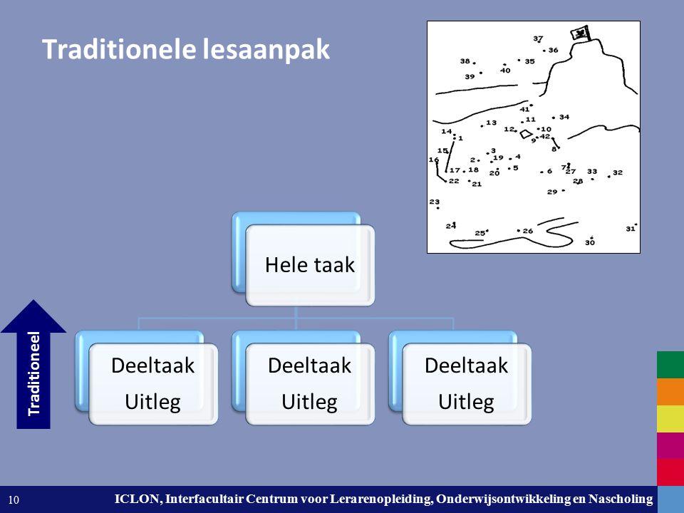 Leiden University. The university to discover. ICLON, Interfacultair Centrum voor Lerarenopleiding, Onderwijsontwikkeling en Nascholing 10 Traditionel