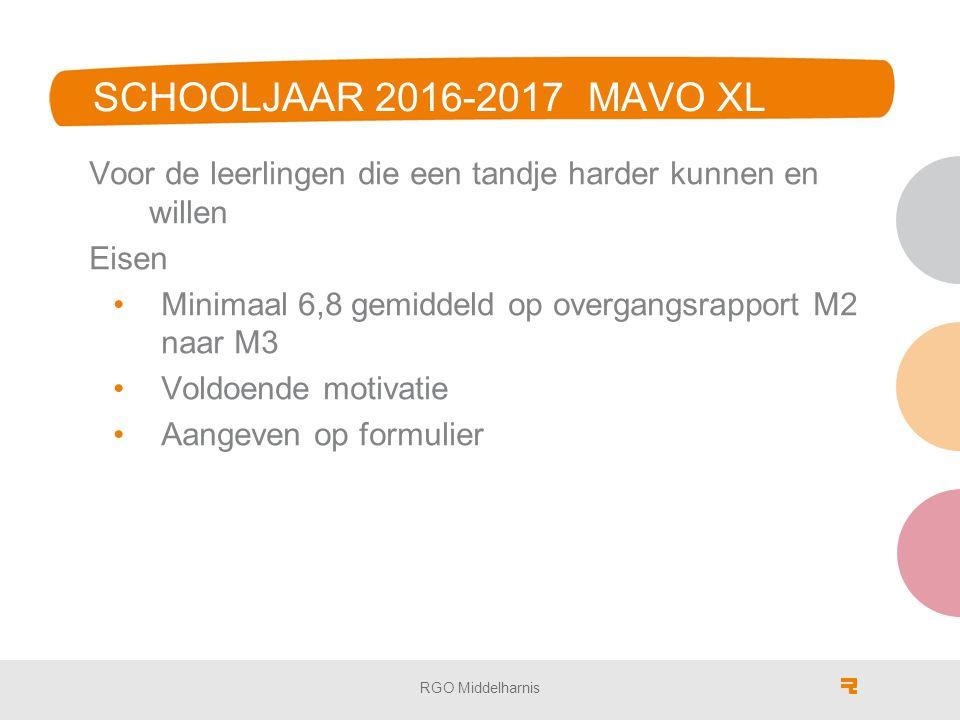 SCHOOLJAAR 2016-2017 MAVO XL Voor de leerlingen die een tandje harder kunnen en willen Eisen Minimaal 6,8 gemiddeld op overgangsrapport M2 naar M3 Voldoende motivatie Aangeven op formulier RGO Middelharnis