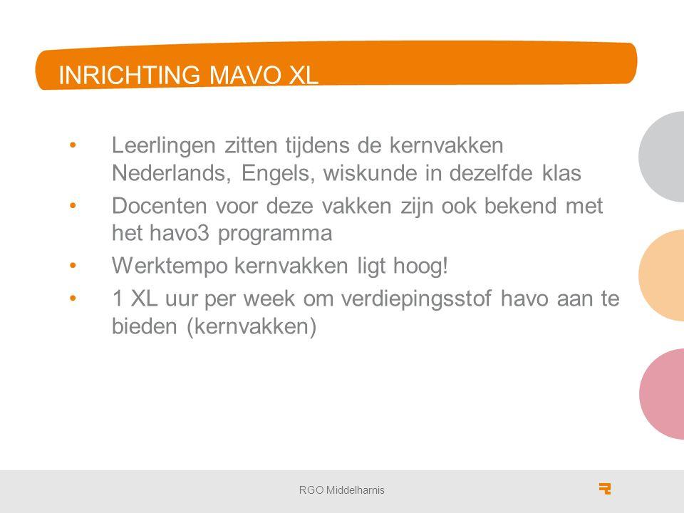 INRICHTING MAVO XL Leerlingen zitten tijdens de kernvakken Nederlands, Engels, wiskunde in dezelfde klas Docenten voor deze vakken zijn ook bekend met het havo3 programma Werktempo kernvakken ligt hoog.