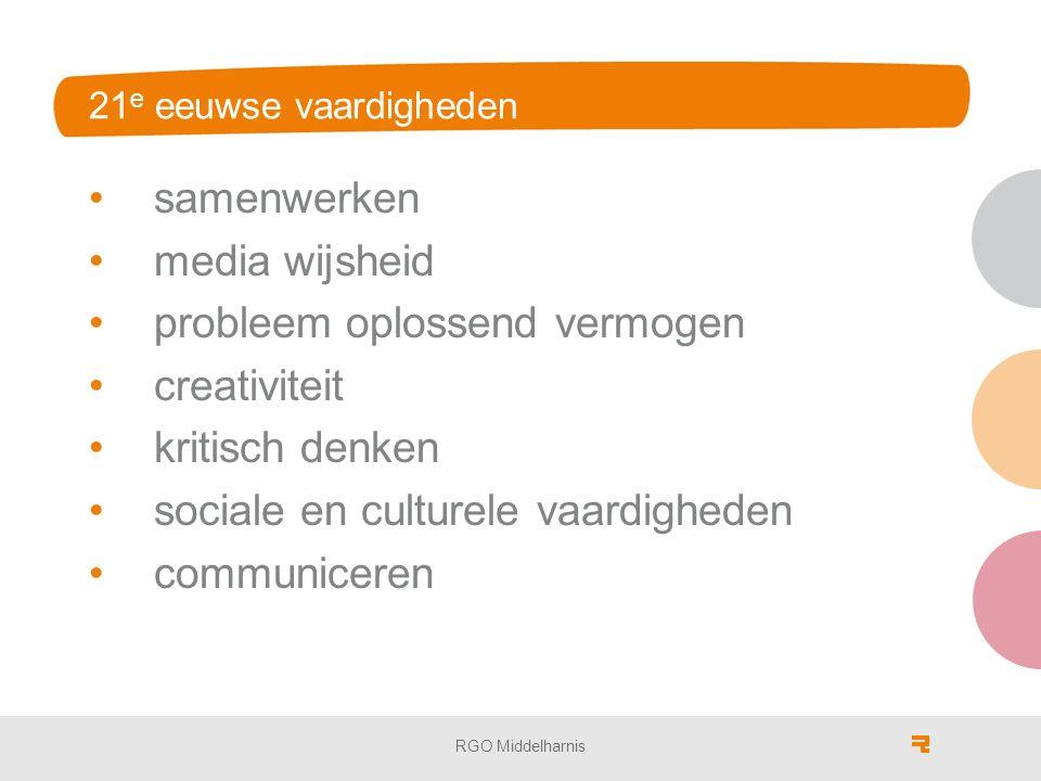 21 e eeuwse vaardigheden samenwerken media wijsheid probleem oplossend vermogen creativiteit kritisch denken sociale en culturele vaardigheden communiceren RGO Middelharnis