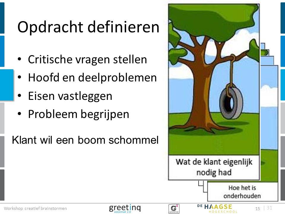 | 31 Opdracht definieren Critische vragen stellen Hoofd en deelproblemen Eisen vastleggen Probleem begrijpen Klant wil een boom schommel Workshop crea