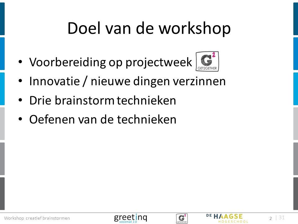 | 31 Doel van de workshop Voorbereiding op projectweek Innovatie / nieuwe dingen verzinnen Drie brainstorm technieken Oefenen van de technieken 2 Work