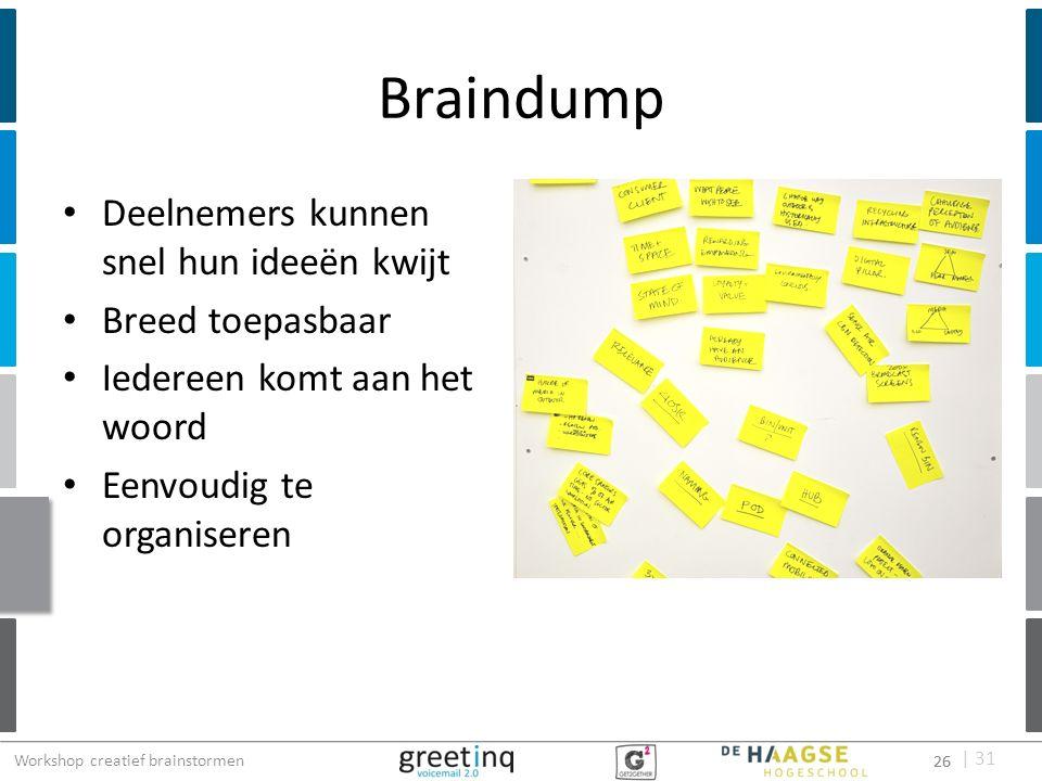 | 31 Braindump Deelnemers kunnen snel hun ideeën kwijt Breed toepasbaar Iedereen komt aan het woord Eenvoudig te organiseren 26 Workshop creatief brai