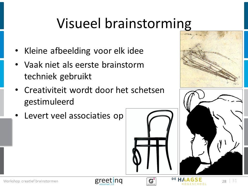 | 31 Visueel brainstorming Kleine afbeelding voor elk idee Vaak niet als eerste brainstorm techniek gebruikt Creativiteit wordt door het schetsen gest