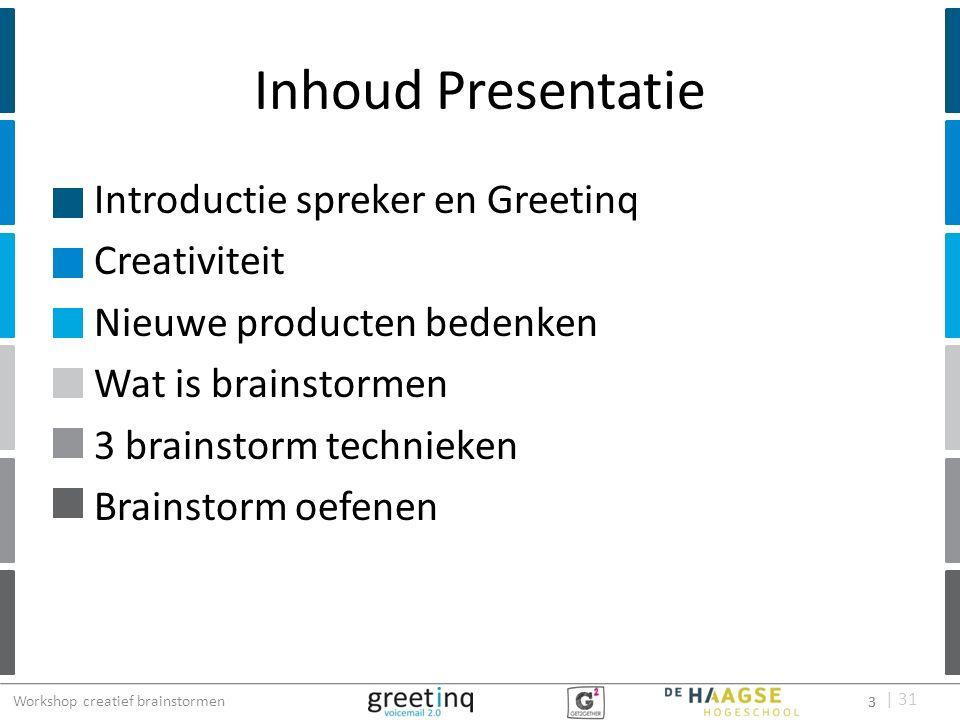 | 31 Inhoud Presentatie Introductie spreker en Greetinq Creativiteit Nieuwe producten bedenken Wat is brainstormen 3 brainstorm technieken Brainstorm