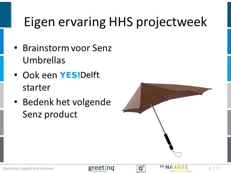 | 31 Eigen ervaring HHS projectweek Brainstorm voor Senz Umbrellas Ook een starter Bedenk het volgende Senz product 7 Workshop creatief brainstormen 7