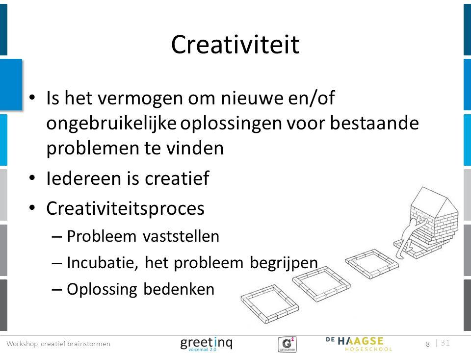 | 31 Visueel brainstorming proces 1.Hoofdprobleem opdelen in deelproblemen 2.Deelprobleem bovenaan een leeg vel 3.Elke deelnemer neemt een vel met deelprobleem 4.Gedurende vijf minuten tekenen 5.Na de vijf minuten het vel doorgeven aan de volgende deelnemer 6.Brainstorm eindigt nadat iedere deelnemer elk deelprobleem heeft behandeld 29 Workshop creatief brainstormen 29