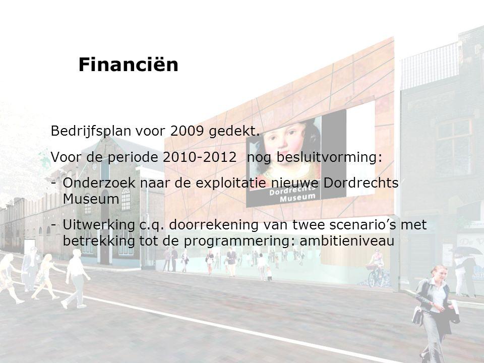 Financiën Bedrijfsplan voor 2009 gedekt.