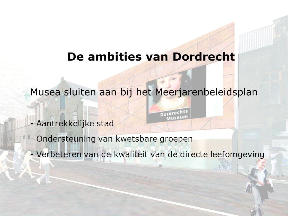 De ambities van Dordrecht Musea sluiten aan bij het Meerjarenbeleidsplan - Aantrekkelijke stad - Ondersteuning van kwetsbare groepen - Verbeteren van de kwaliteit van de directe leefomgeving