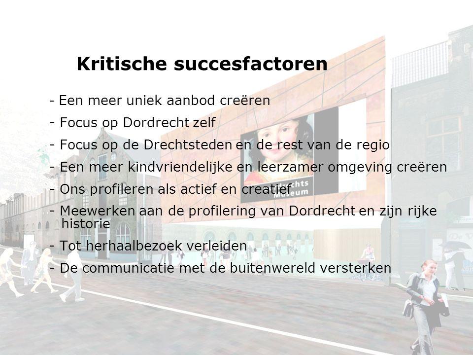 Kritische succesfactoren - Een meer uniek aanbod creëren - Focus op Dordrecht zelf - Focus op de Drechtsteden en de rest van de regio - Een meer kindvriendelijke en leerzamer omgeving creëren - Ons profileren als actief en creatief - Meewerken aan de profilering van Dordrecht en zijn rijke historie - Tot herhaalbezoek verleiden - De communicatie met de buitenwereld versterken