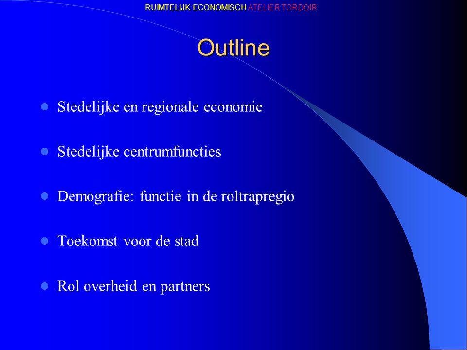 Outline Stedelijke en regionale economie Stedelijke centrumfuncties Demografie: functie in de roltrapregio Toekomst voor de stad Rol overheid en partners RUIMTELIJK ECONOMISCH ATELIER TORDOIR
