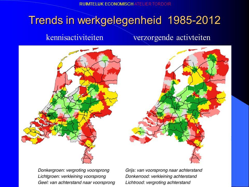 Trends in werkgelegenheid 1985-2012 kennisactiviteiten verzorgende activteiten RUIMTELIJK ECONOMISCH ATELIER TORDOIR