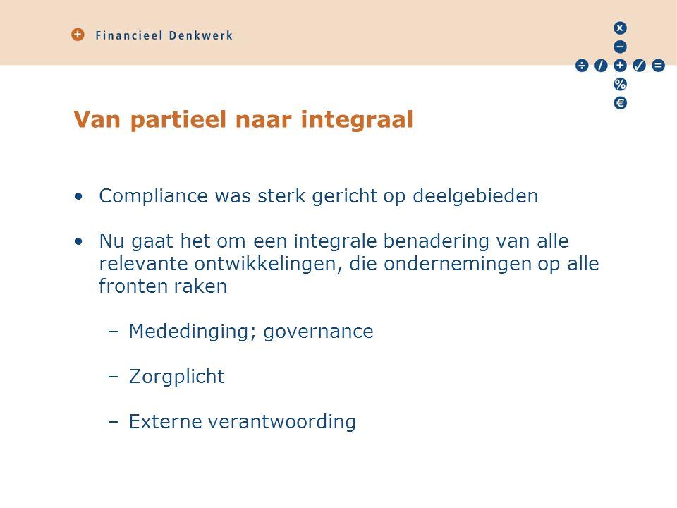 Van partieel naar integraal Compliance was sterk gericht op deelgebieden Nu gaat het om een integrale benadering van alle relevante ontwikkelingen, die ondernemingen op alle fronten raken –Mededinging; governance –Zorgplicht –Externe verantwoording