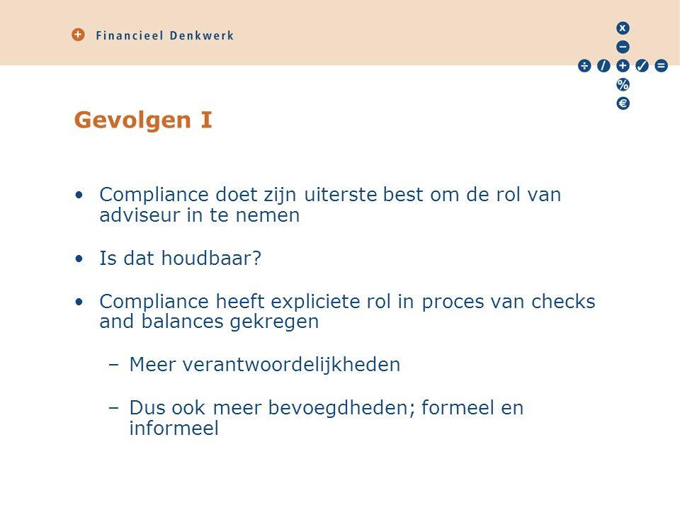 Gevolgen I Compliance doet zijn uiterste best om de rol van adviseur in te nemen Is dat houdbaar.