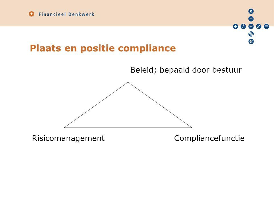 Plaats en positie compliance Beleid; bepaald door bestuur Risicomanagement Compliancefunctie