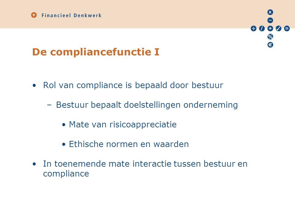 De compliancefunctie I Rol van compliance is bepaald door bestuur –Bestuur bepaalt doelstellingen onderneming Mate van risicoappreciatie Ethische normen en waarden In toenemende mate interactie tussen bestuur en compliance