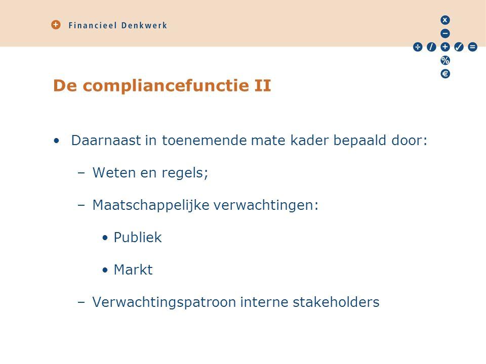 De compliancefunctie II Daarnaast in toenemende mate kader bepaald door: –Weten en regels; –Maatschappelijke verwachtingen: Publiek Markt –Verwachtingspatroon interne stakeholders