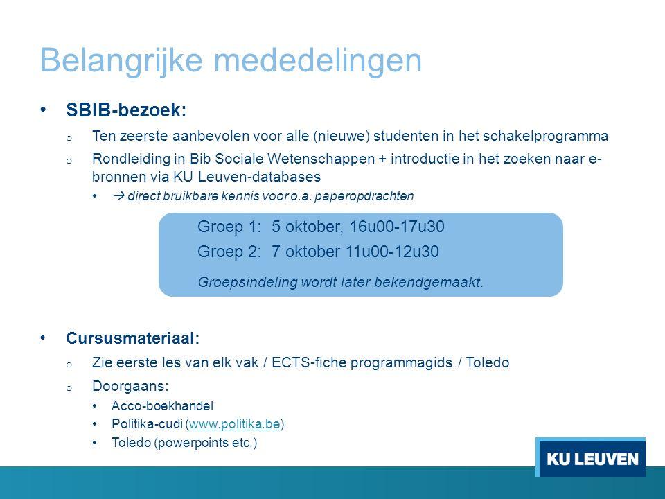Belangrijke mededelingen SBIB-bezoek: o Ten zeerste aanbevolen voor alle (nieuwe) studenten in het schakelprogramma o Rondleiding in Bib Sociale Wetenschappen + introductie in het zoeken naar e- bronnen via KU Leuven-databases  direct bruikbare kennis voor o.a.