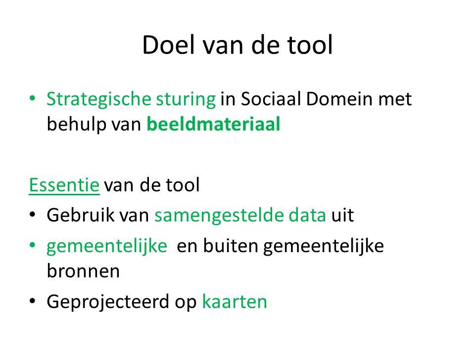 Doel van de tool Strategische sturing in Sociaal Domein met behulp van beeldmateriaal Essentie van de tool Gebruik van samengestelde data uit gemeentelijke en buiten gemeentelijke bronnen Geprojecteerd op kaarten