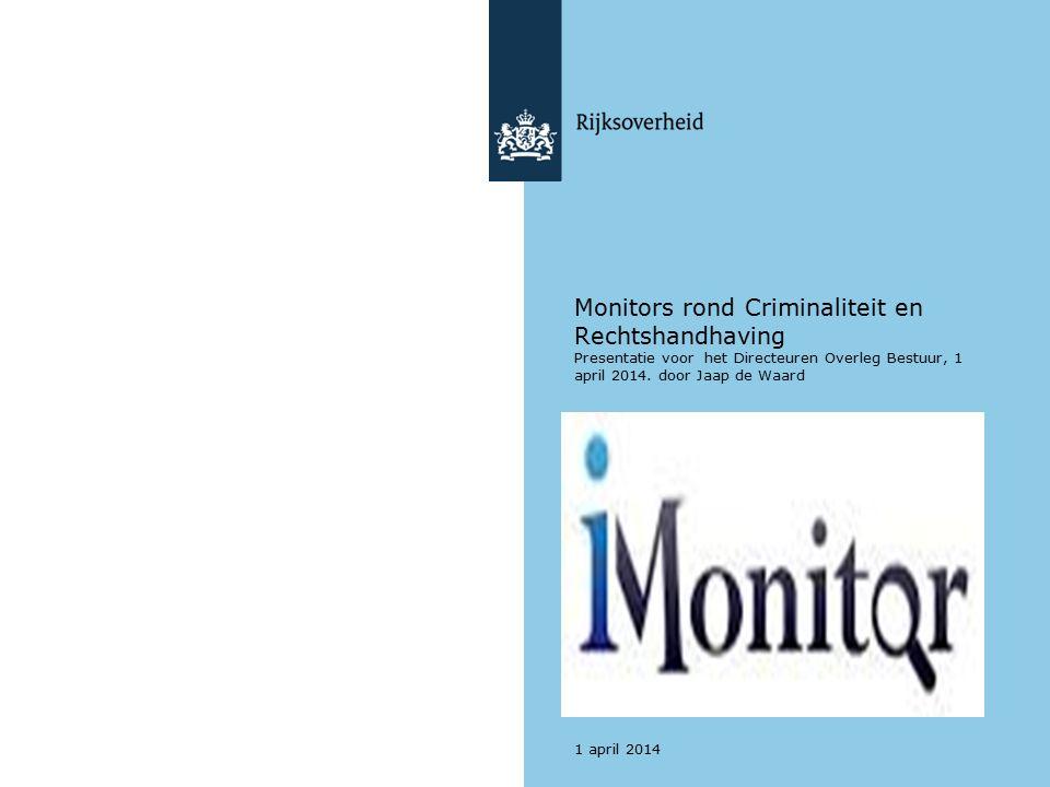 Monitors rond Criminaliteit en Rechtshandhaving Presentatie voor het Directeuren Overleg Bestuur, 1 april 2014.