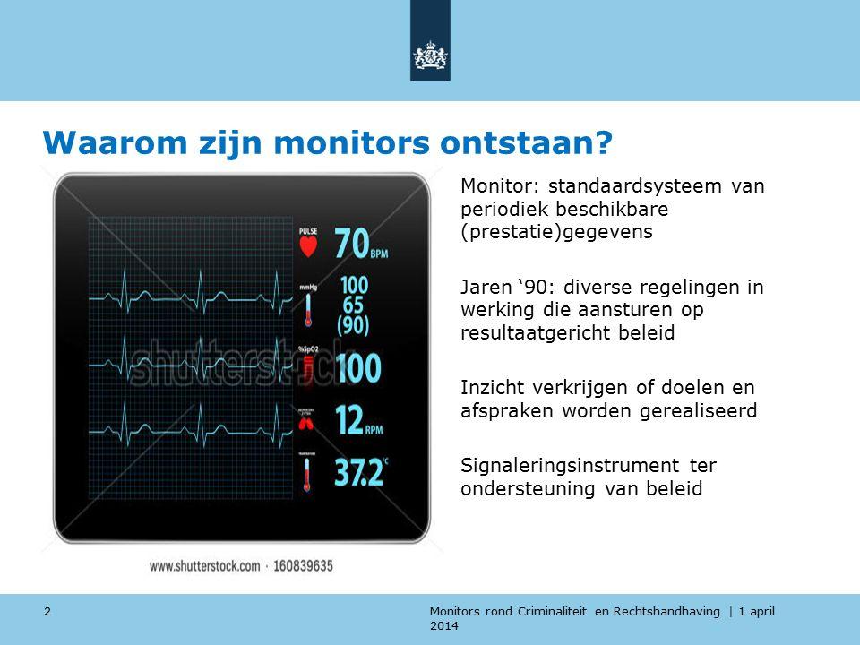 Monitors rond Criminaliteit en Rechtshandhaving | 1 april 2014 Waarom zijn monitors ontstaan.