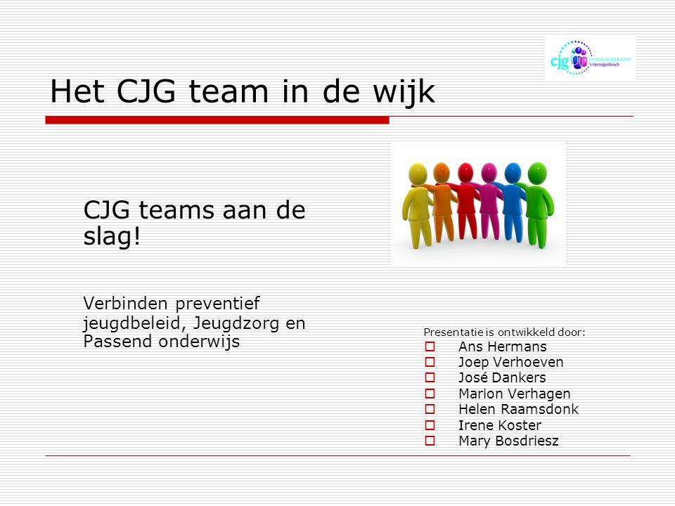 Het CJG team in de wijk CJG teams aan de slag.