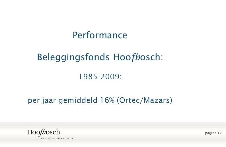 pagina 17 Performance Beleggingsfonds Hoofbosch: 1985-2009: per jaar gemiddeld 16% (Ortec/Mazars)