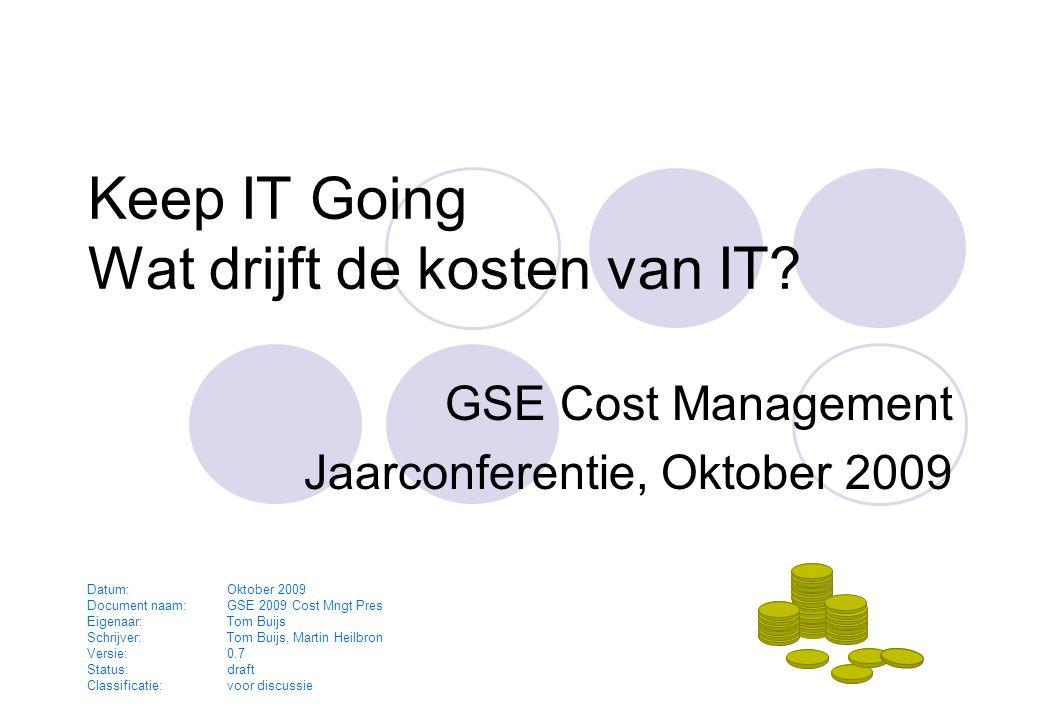 Oktober 2009GSE Cost Management - Keep IT Going2 Agenda Inleiding Cost Management model 1998  gebaseerd op ABC Nieuwe inzichten  Vanuit Drivers (zoals bij QSM) Oud en nieuw gecombineerd  Keep IT Simple  Keep IT Going