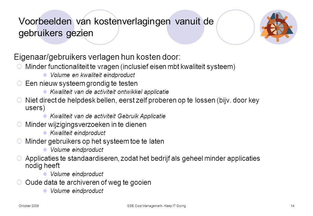 Voorbeelden van kostenverlagingen vanuit de gebruikers gezien Eigenaar/gebruikers verlagen hun kosten door:  Minder functionaliteit te vragen (inclus
