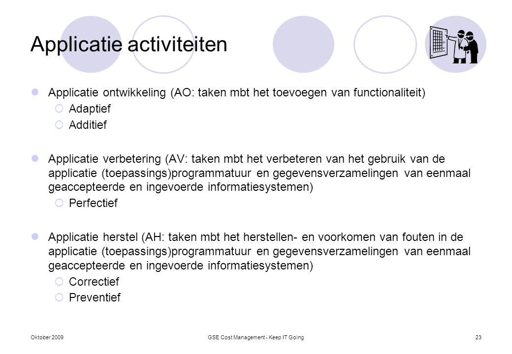 Applicatie activiteiten Applicatie ontwikkeling (AO: taken mbt het toevoegen van functionaliteit)  Adaptief  Additief Applicatie verbetering (AV: ta