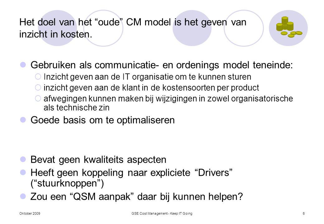 """Het doel van het """"oude"""" CM model is het geven van inzicht in kosten. Gebruiken als communicatie- en ordenings model teneinde:  Inzicht geven aan de I"""