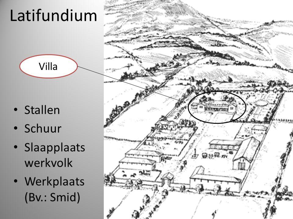 Latifundium Stallen Schuur Slaapplaats werkvolk Werkplaats (Bv.: Smid) Villa