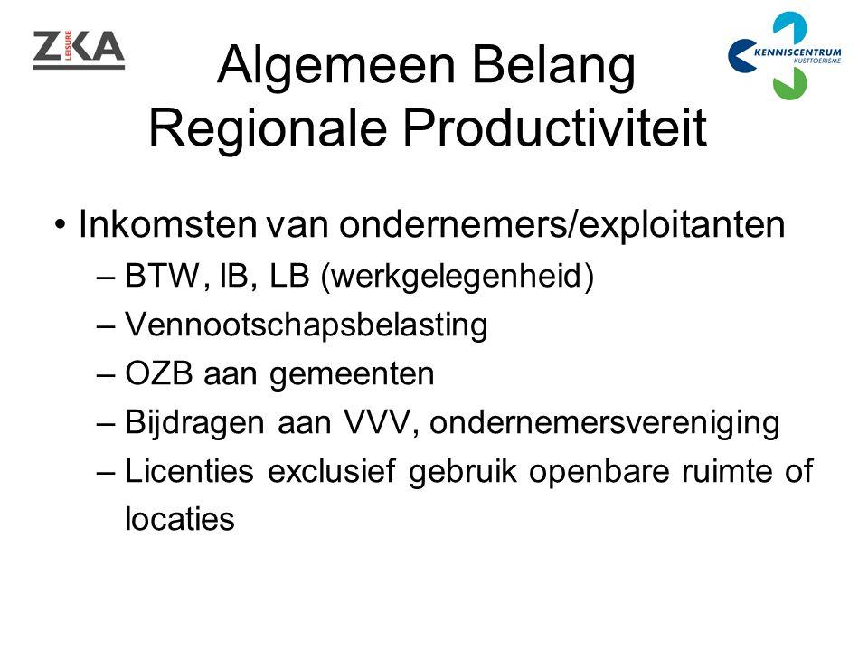Algemeen Belang Regionale Productiviteit Inkomsten van ondernemers/exploitanten – BTW, IB, LB (werkgelegenheid) – Vennootschapsbelasting – OZB aan gemeenten – Bijdragen aan VVV, ondernemersvereniging – Licenties exclusief gebruik openbare ruimte of locaties