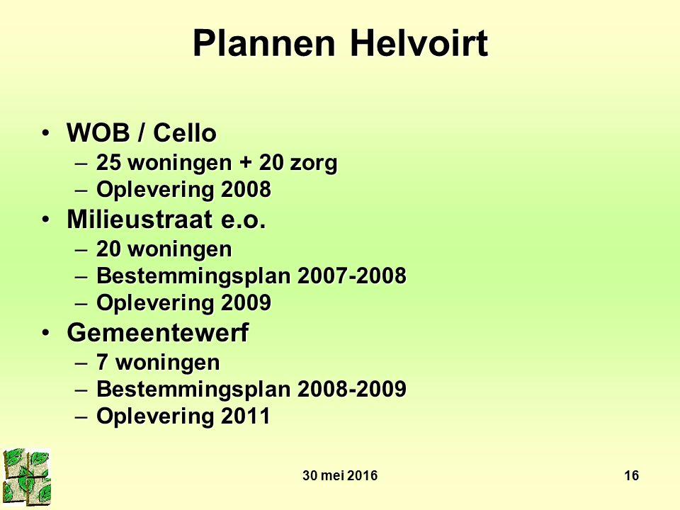 30 mei 201616 Plannen Helvoirt WOB / CelloWOB / Cello –25 woningen + 20 zorg –Oplevering 2008 Milieustraat e.o.Milieustraat e.o. –20 woningen –Bestemm