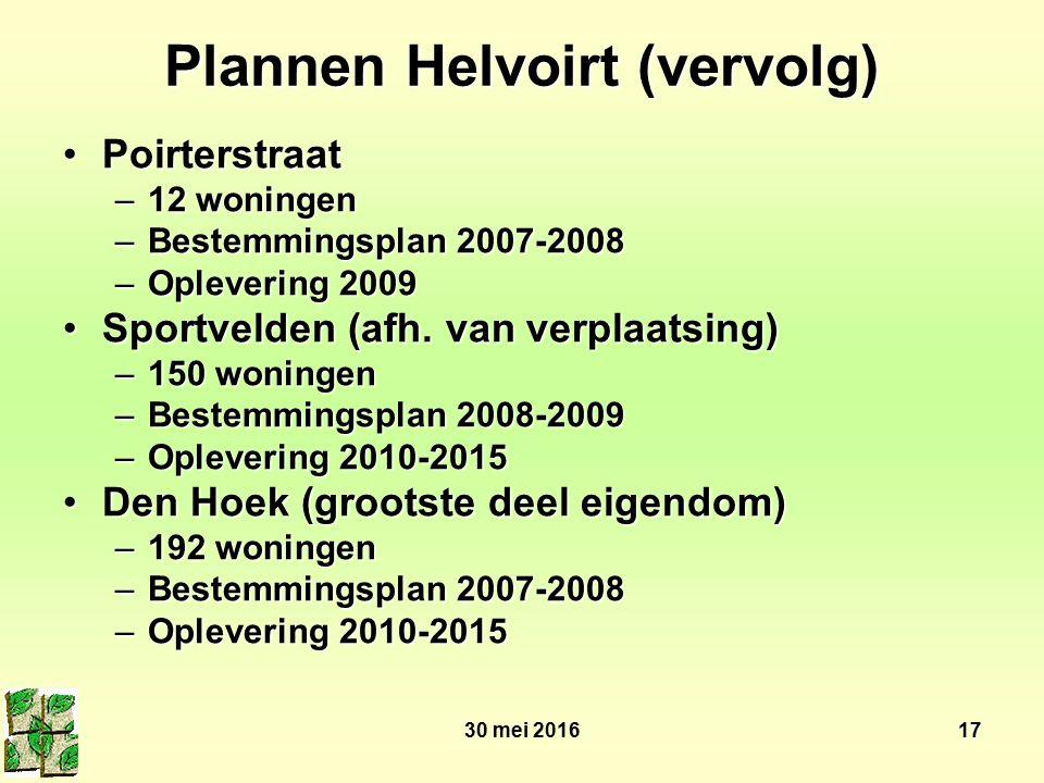 30 mei 201617 Plannen Helvoirt (vervolg) PoirterstraatPoirterstraat –12 woningen –Bestemmingsplan 2007-2008 –Oplevering 2009 Sportvelden (afh. van ver