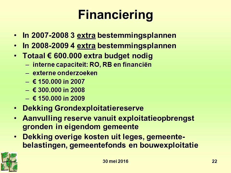 30 mei 201622 Financiering In 2007-2008 3 extra bestemmingsplannenIn 2007-2008 3 extra bestemmingsplannen In 2008-2009 4 extra bestemmingsplannenIn 20