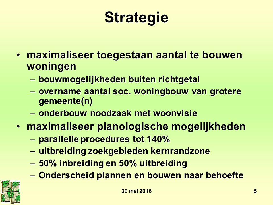 30 mei 20165 Strategie maximaliseer toegestaan aantal te bouwen woningenmaximaliseer toegestaan aantal te bouwen woningen –bouwmogelijkheden buiten richtgetal –overname aantal soc.