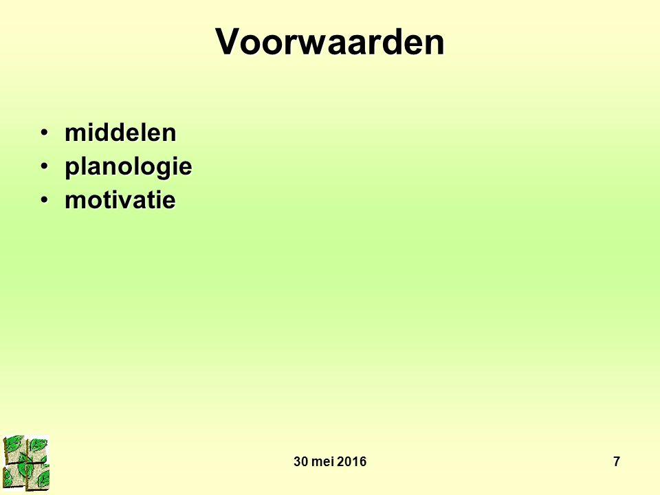 30 mei 20167 Voorwaarden middelenmiddelen planologieplanologie motivatiemotivatie