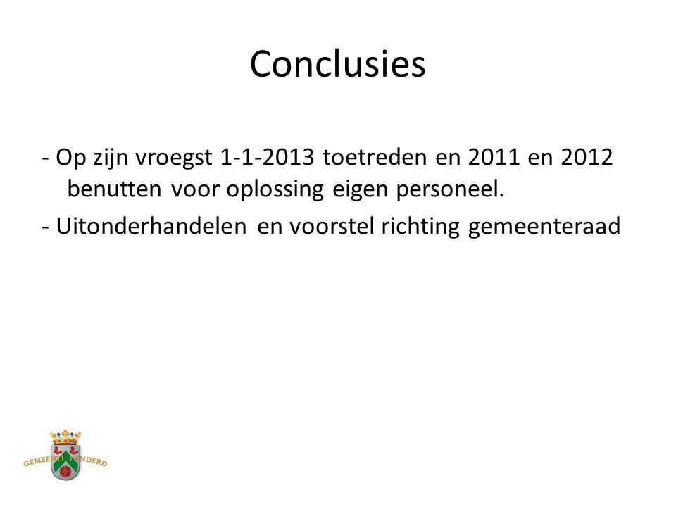 Conclusies - Op zijn vroegst 1-1-2013 toetreden en 2011 en 2012 benutten voor oplossing eigen personeel.