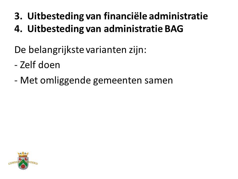 3. Uitbesteding van financiële administratie 4.