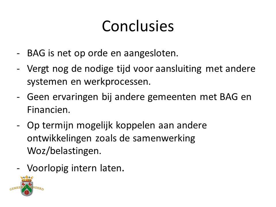 Conclusies -BAG is net op orde en aangesloten.