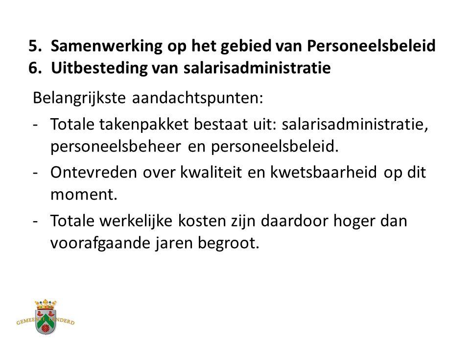 5. Samenwerking op het gebied van Personeelsbeleid 6.