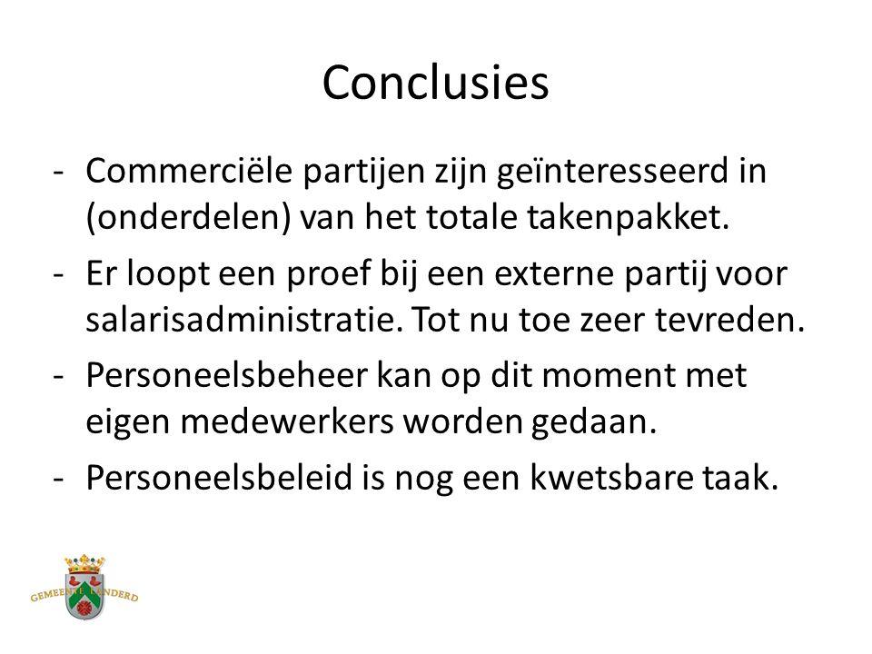 Conclusies -Commerciële partijen zijn geïnteresseerd in (onderdelen) van het totale takenpakket.