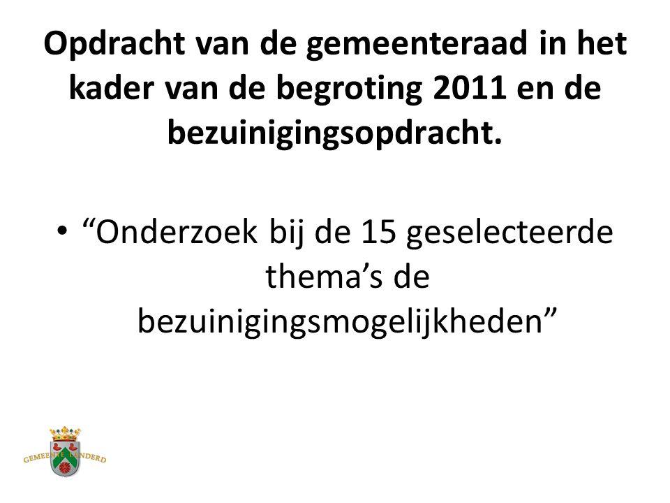 Opdracht van de gemeenteraad in het kader van de begroting 2011 en de bezuinigingsopdracht.