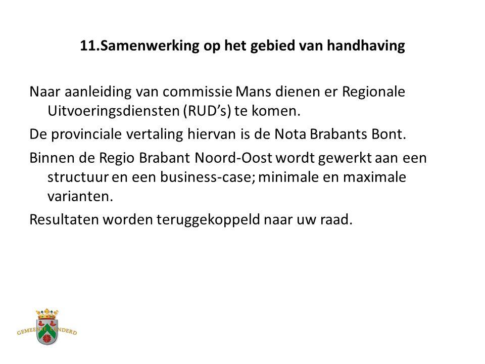 11.Samenwerking op het gebied van handhaving Naar aanleiding van commissie Mans dienen er Regionale Uitvoeringsdiensten (RUD's) te komen.