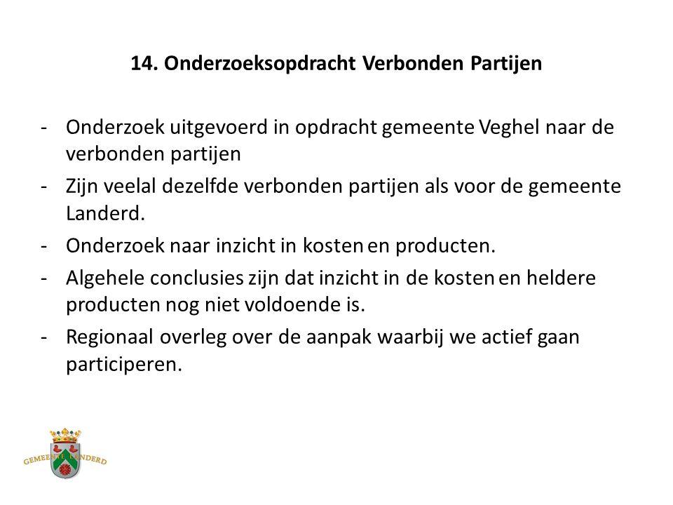 14. Onderzoeksopdracht Verbonden Partijen -Onderzoek uitgevoerd in opdracht gemeente Veghel naar de verbonden partijen -Zijn veelal dezelfde verbonden
