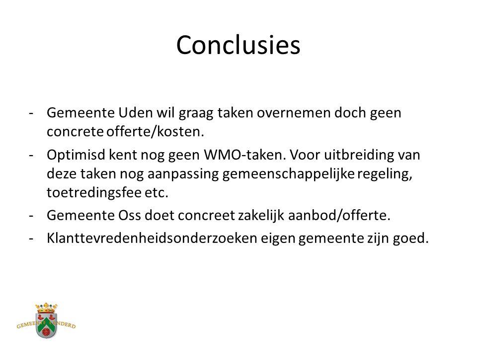 Conclusies -Gemeente Uden wil graag taken overnemen doch geen concrete offerte/kosten.