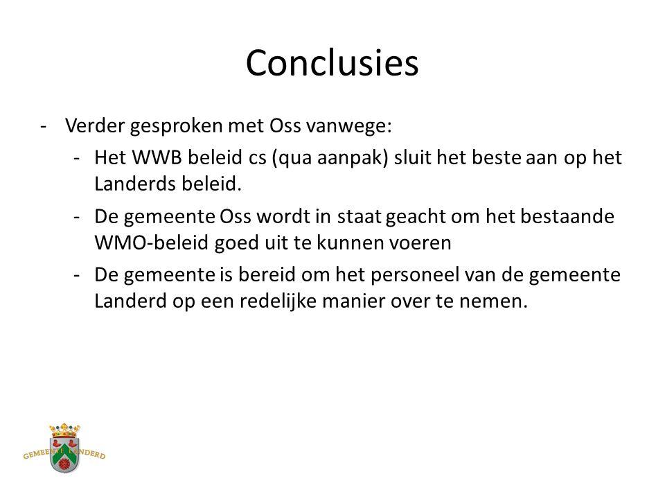 Conclusies -Verder gesproken met Oss vanwege: -Het WWB beleid cs (qua aanpak) sluit het beste aan op het Landerds beleid.