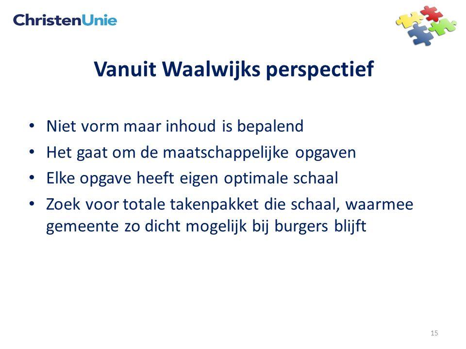 Vanuit Waalwijks perspectief Niet vorm maar inhoud is bepalend Het gaat om de maatschappelijke opgaven Elke opgave heeft eigen optimale schaal Zoek vo